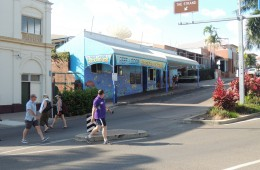 With all the bright coloured fish and sea creatures. You can't miss the front of the Reef Lodge Backpackers because of the brightly painted mural. Closest hostel to the greyhound and the beach.