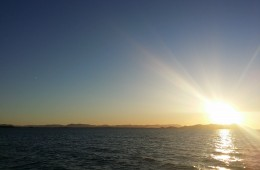 Beatiful sunset over Townsvilles Clevland Bay on the way to Magnetic Island.